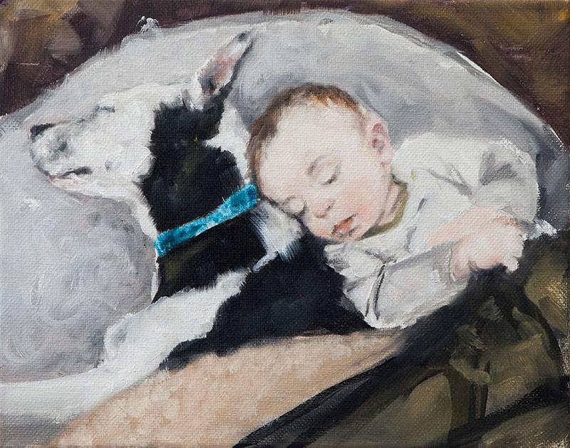 """""""Dog Dreaming"""" original fine art by Clair Hartmann"""
