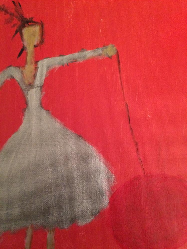 """Silver girl with large yoyo.."" original fine art by pamela kish"