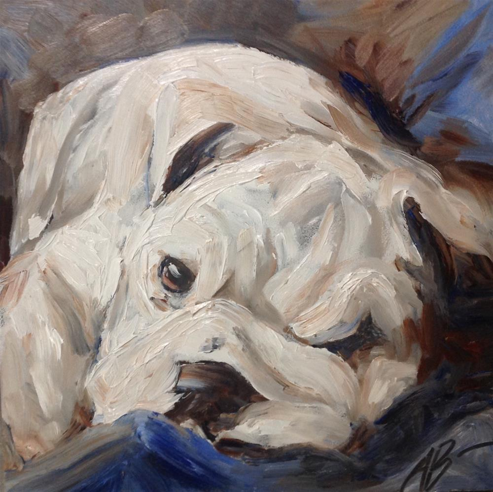 """English Bulldog Pup"" original fine art by Annette Balesteri"