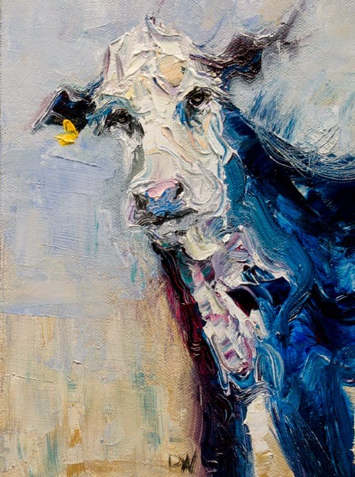 """ARTOUTWEST COW CATTLE ANIMAL ART BY ARTIST Diane Whitehead"" original fine art by Diane Whitehead"