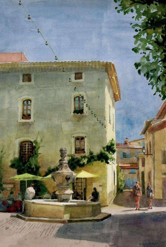 """Watercolor: Le Grande Rue, Venasque (& Art Festival dates)"" original fine art by Belinda Del Pesco"