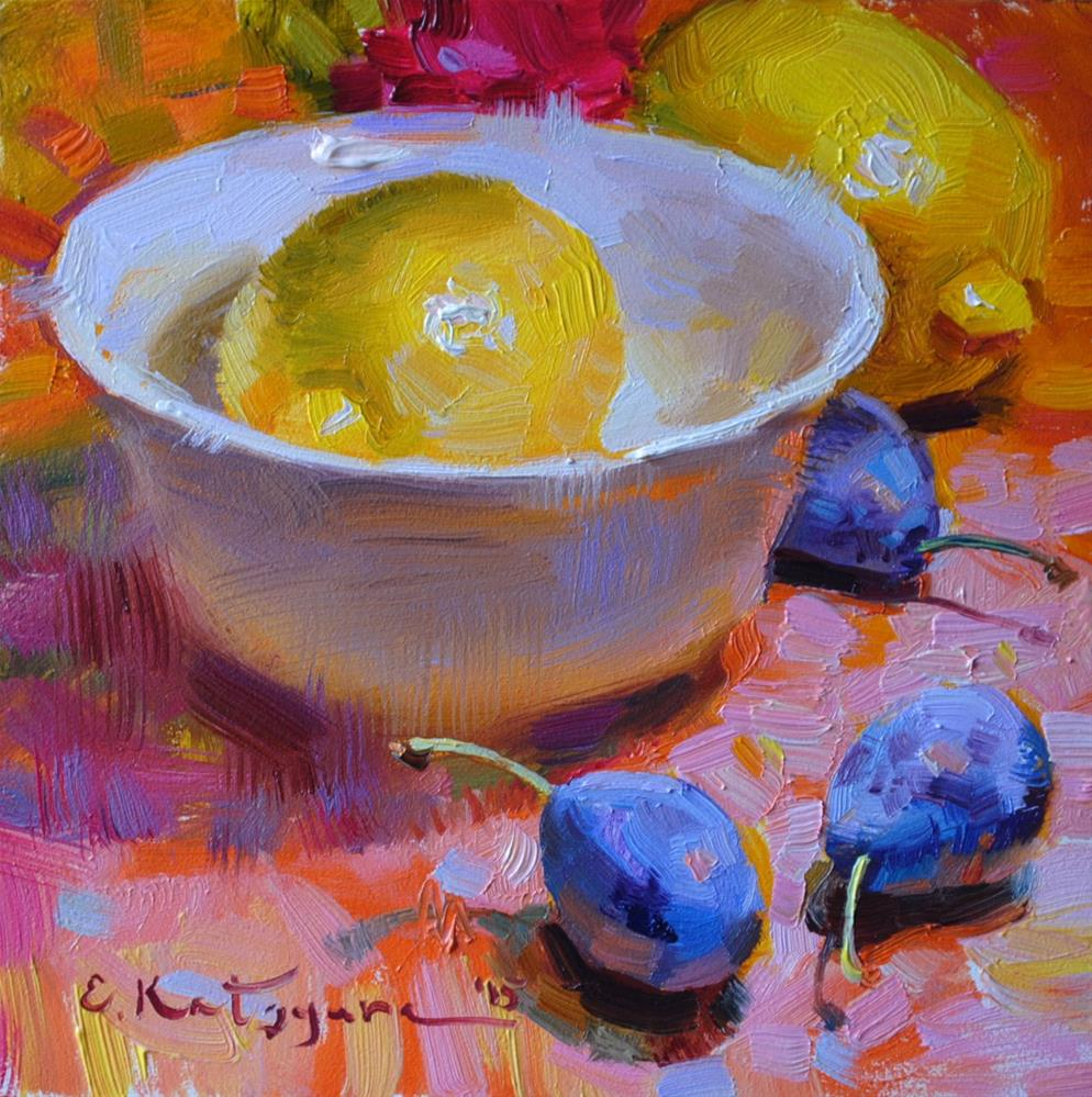 """Lemon Hiding in a Bowl"" original fine art by Elena Katsyura"
