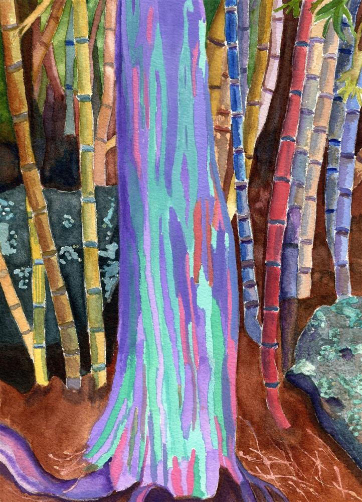 """Rainbow Tree"" original fine art by Lynne Reichhart"