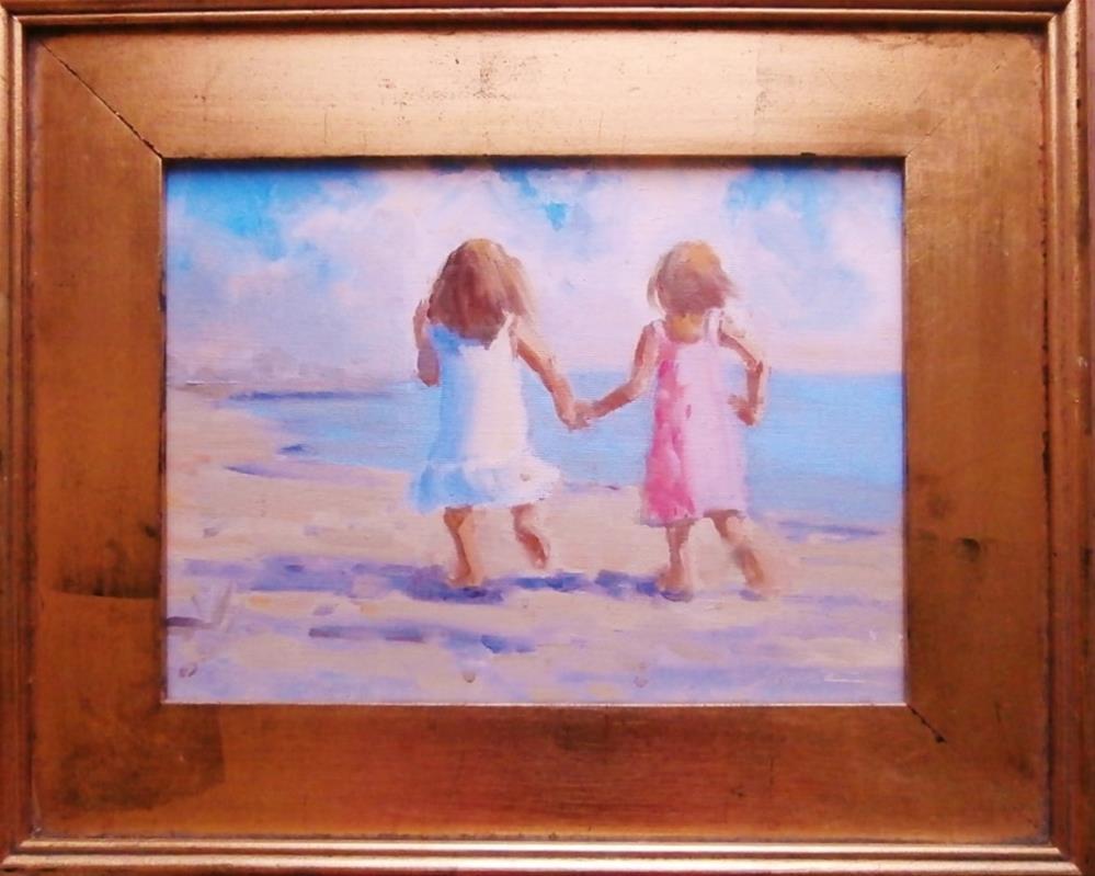 """""""A Fun Run on the Beach"""" original fine art by Connie Snipes"""