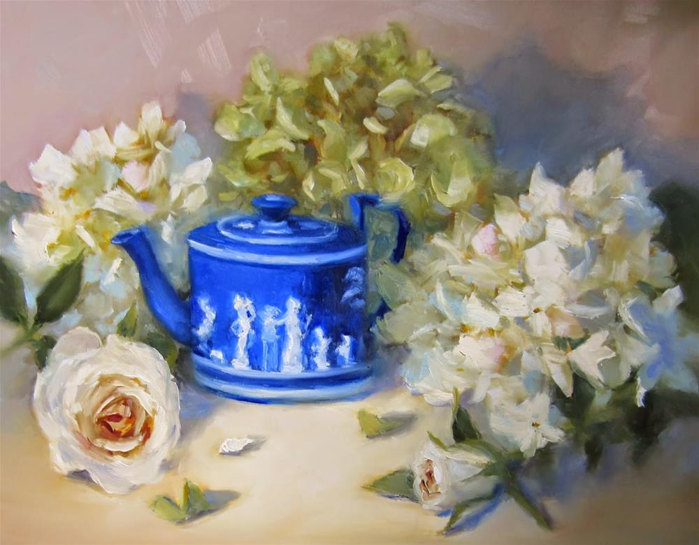 """Wedgwood and Whites"" original fine art by Pat Fiorello"