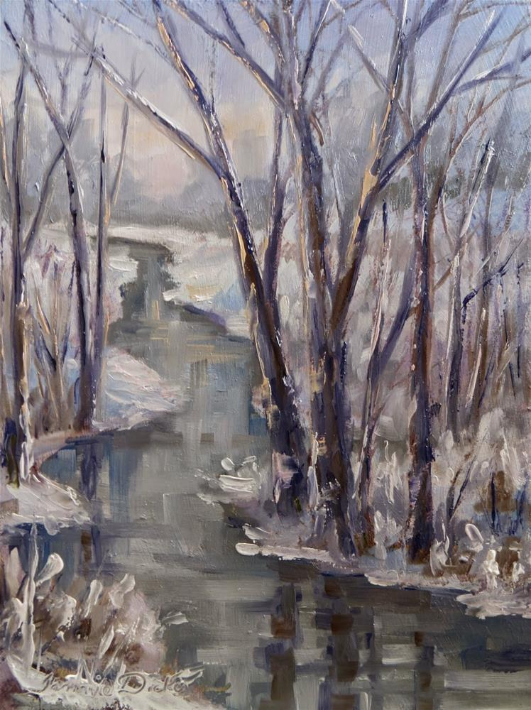 """Snow at the Stream"" original fine art by Tammie Dickerson"