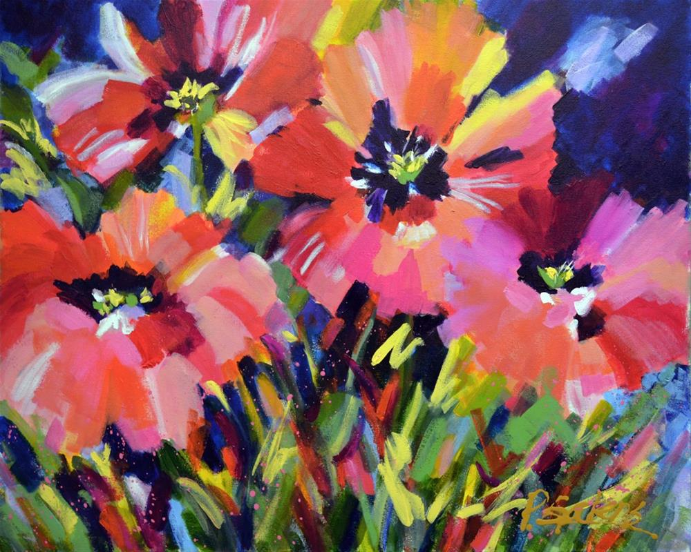 """Red & Pink Poppies"" original fine art by Pamela Gatens"