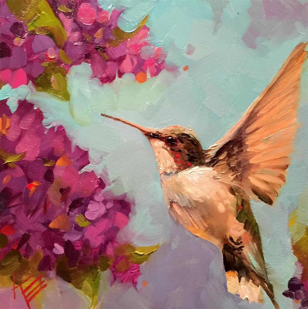 """Hummingbird Flutter"" original fine art by Krista Eaton"