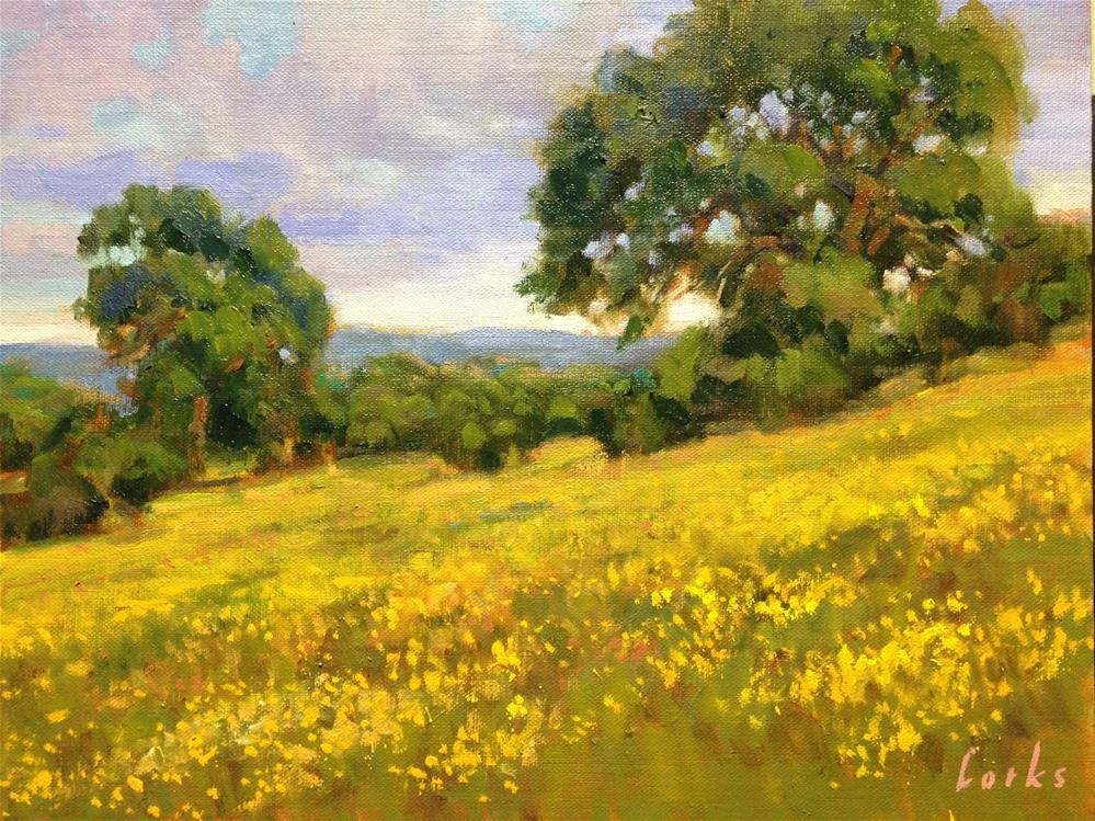 """Field with Coreopsis"" original fine art by David Forks"