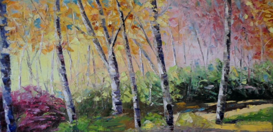 """12 x 24 inch oil Fall Colors #3"" original fine art by Linda Yurgensen"