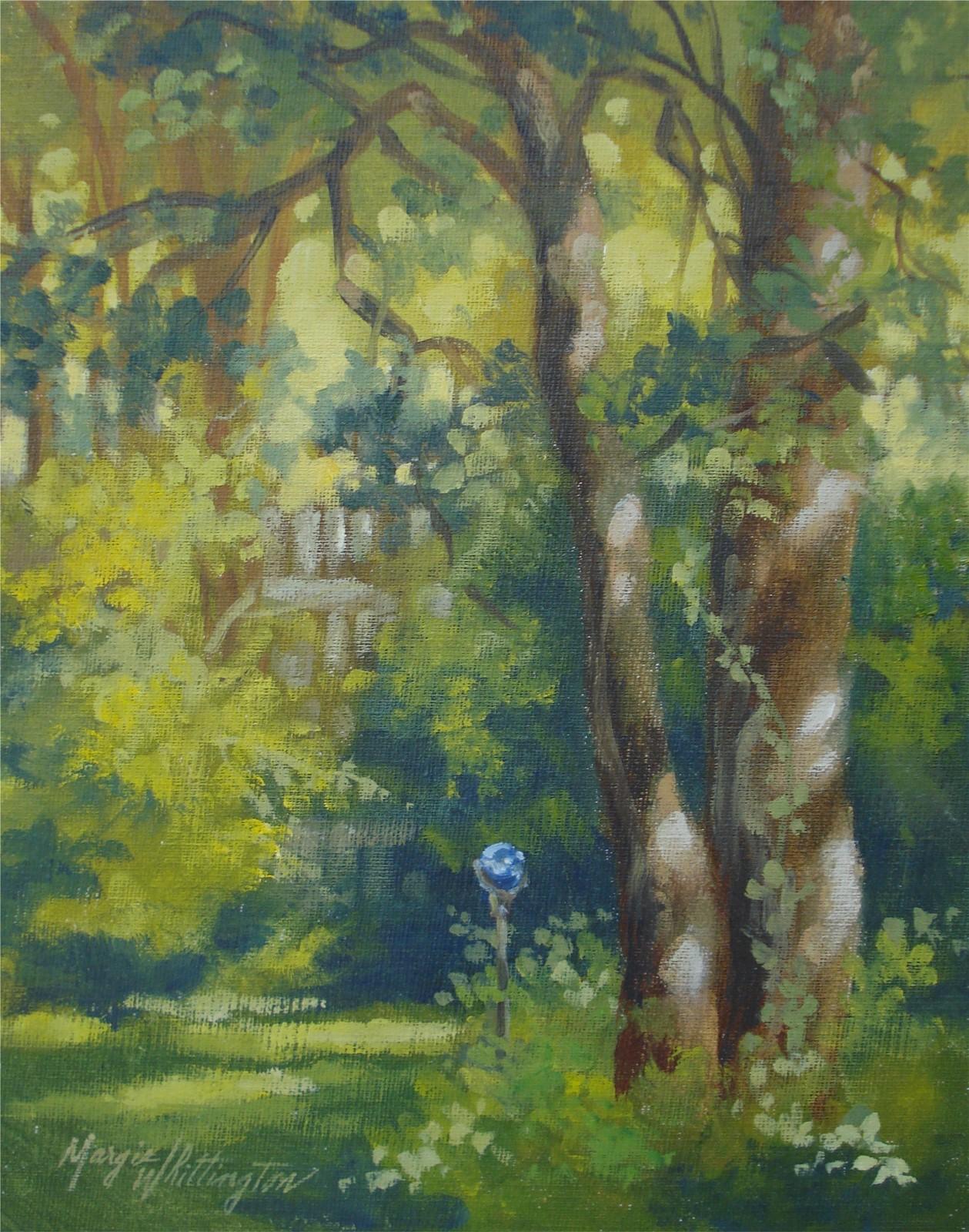 """Blue Gazing Ball"" original fine art by Margie Whittington"