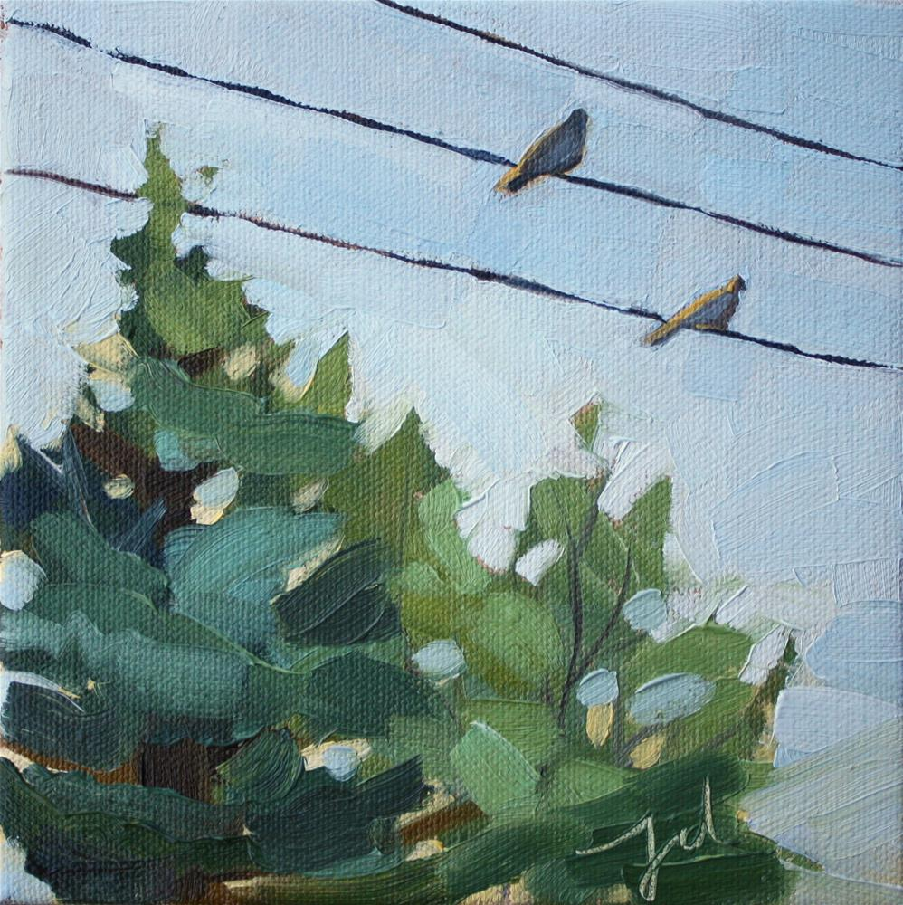 """Two Birds"" original fine art by Jessie Dodington"
