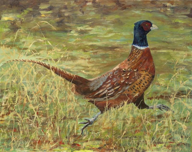 """""""Rooster Running"""" original fine art by Lucy Hammett"""