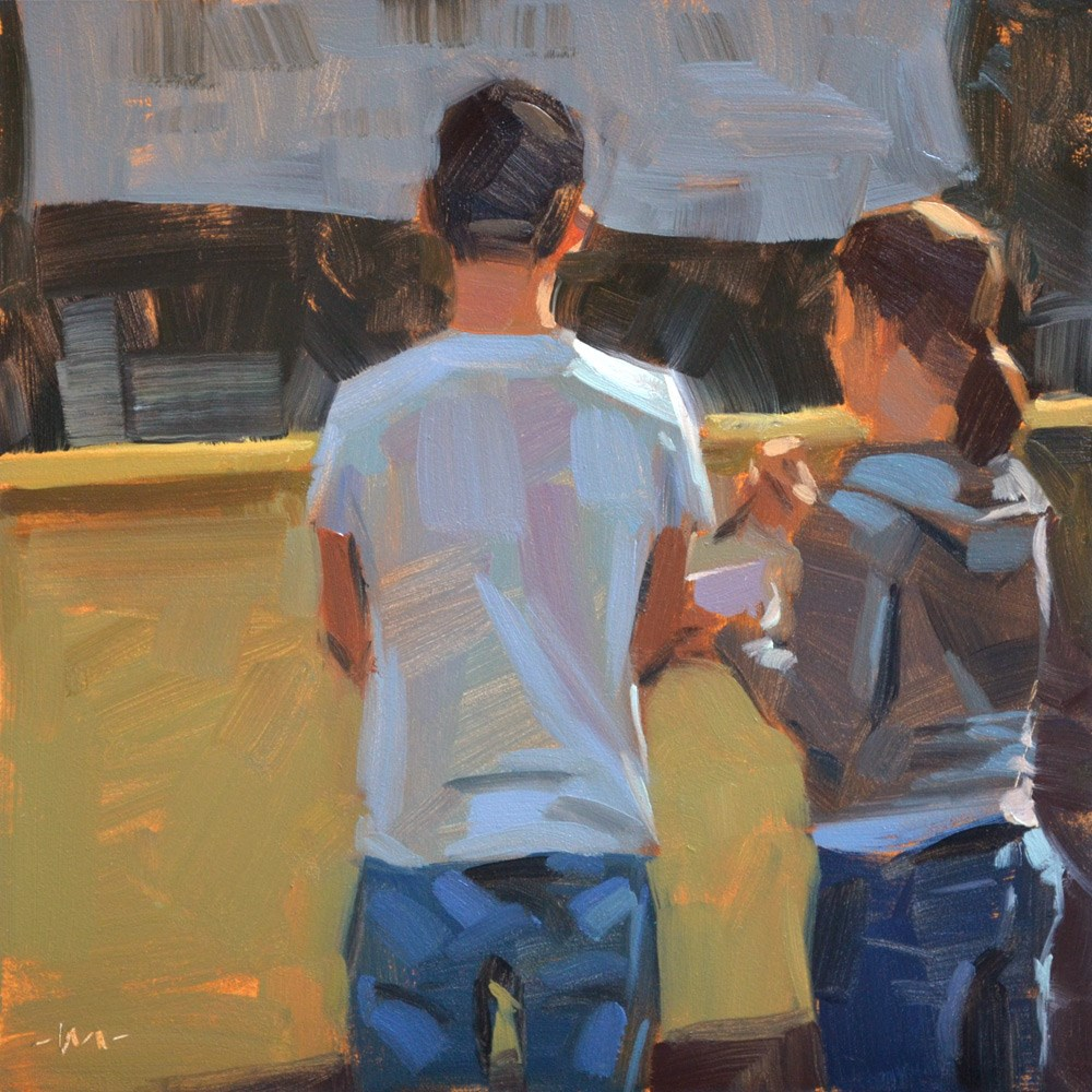 """First Date at the Food Stand"" original fine art by Carol Marine"