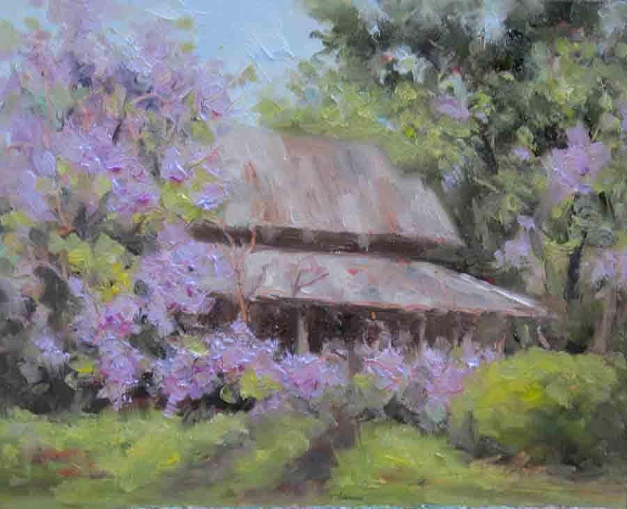 """""""Wisteria Barn"""" original fine art by Pat Fiorello"""