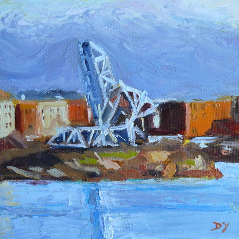 """Blue Bridge, Knife Painting, oil on board, 6x6"" original fine art by Darlene Young"