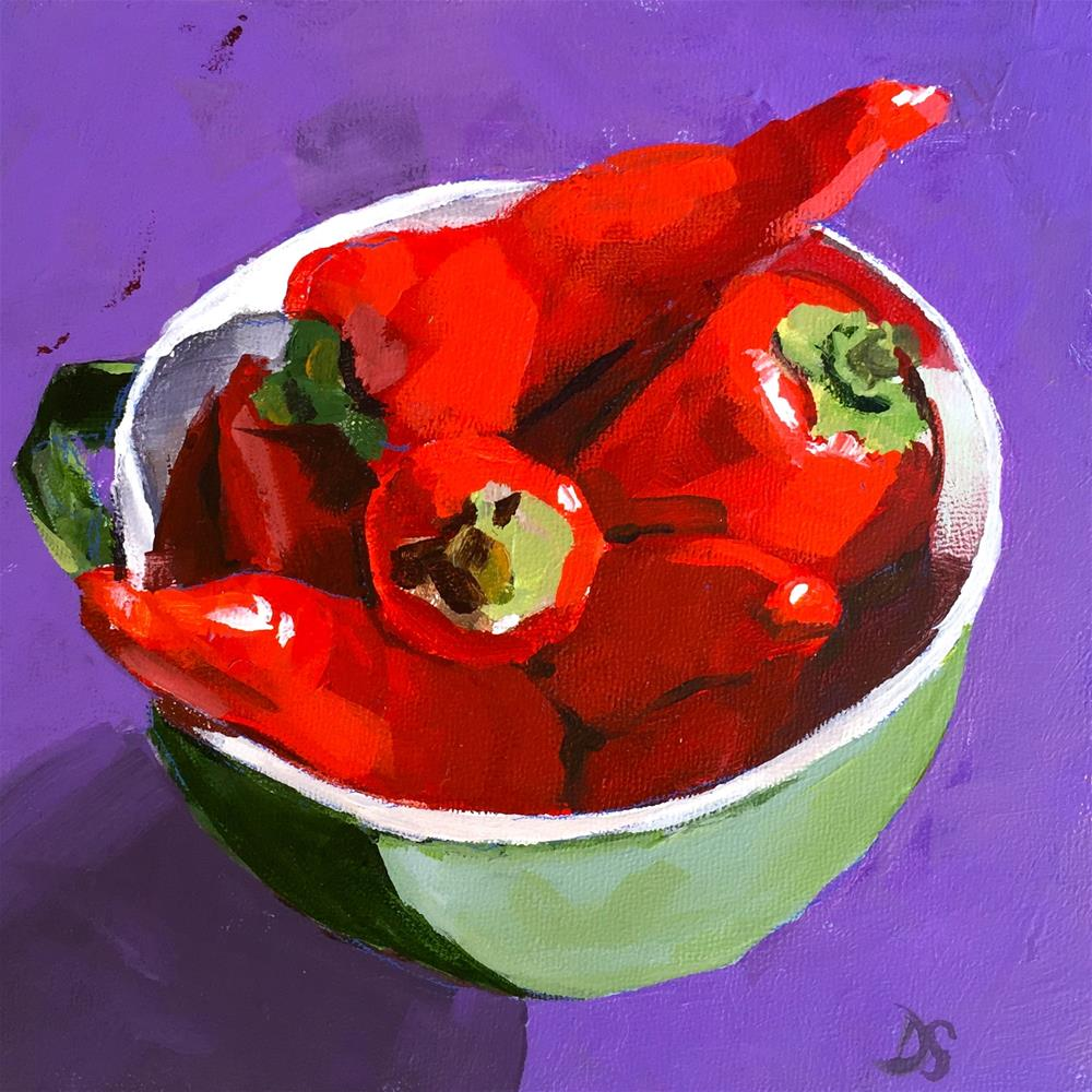 """Party Peppers"" original fine art by Diana Stewart"