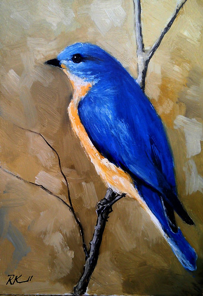 """Eastern Bluebird"" original fine art by Bob Kimball"