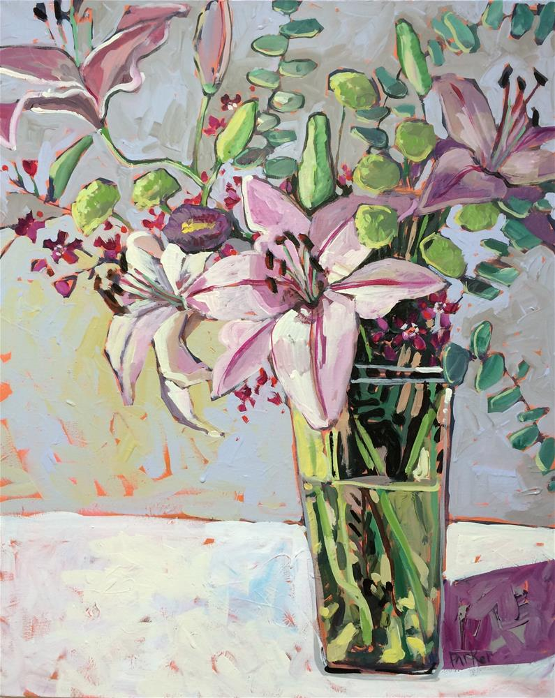 """Lilies Retake"" original fine art by Teddi Parker"