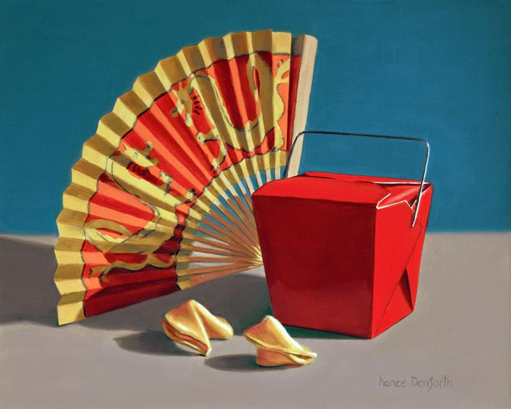 """Takeout  Box with Fan"" original fine art by Nance Danforth"