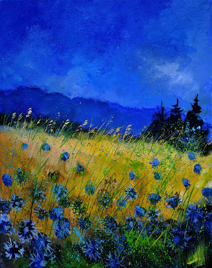 """blue cornflowers 45501"" original fine art by Pol Ledent"