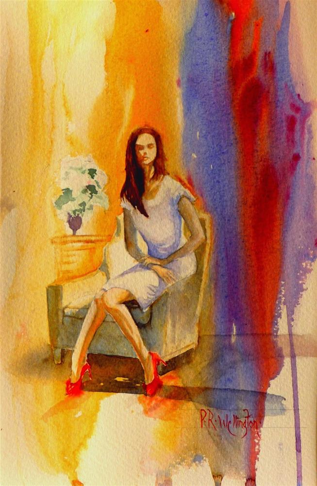 """Sitting in Red Shoes"" original fine art by Peter Wellington"