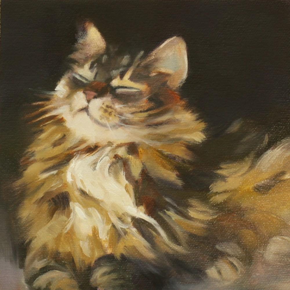 """""""Cat Bliss"""" original fine art by Pamela Poll"""