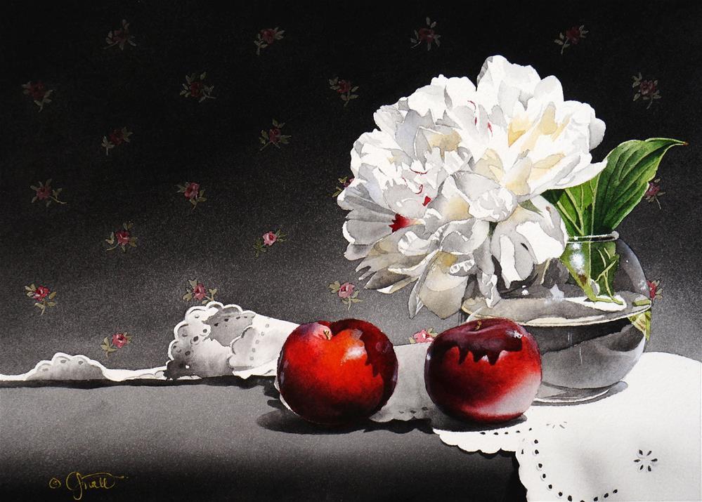 """Peony & Plums"" original fine art by Jacqueline Gnott, TWSA, WHS"