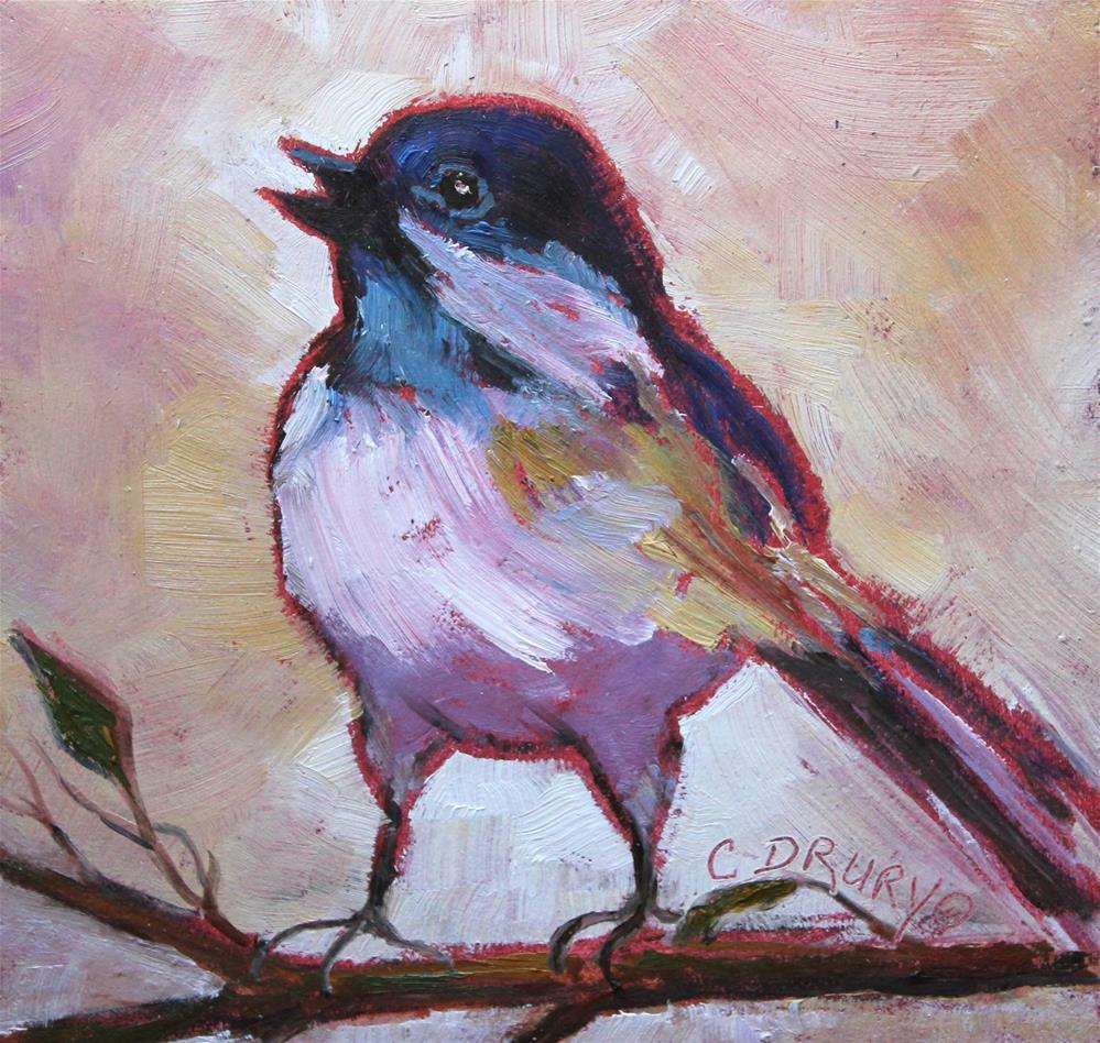 """Chickadee"" original fine art by Colleen Drury"