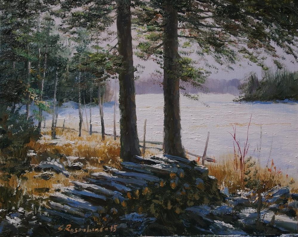 """The woodpile"" original fine art by Stig Rosenlund"