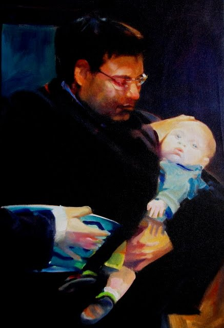 """The Covenant Promise figurative oil painting, Baptism"" original fine art by Robin Weiss"