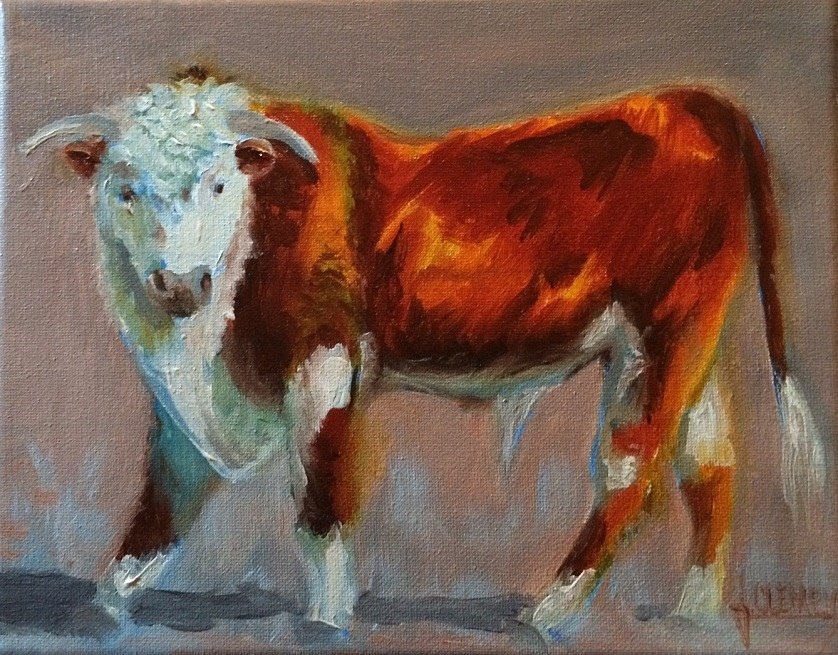 """Hereford"" original fine art by Jolynn Clemens"