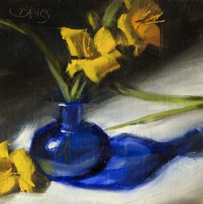 """Daylilies in a Blue Bud Vase"" original fine art by Pamela Blaies"