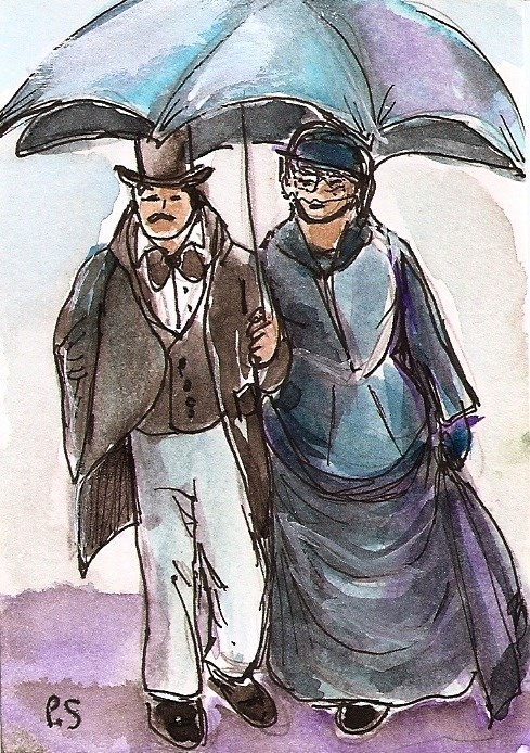 """ACEO Victorian Couple Vintage Costumes Umbrella Illustration by Penny Lee StewArt"" original fine art by Penny Lee StewArt"
