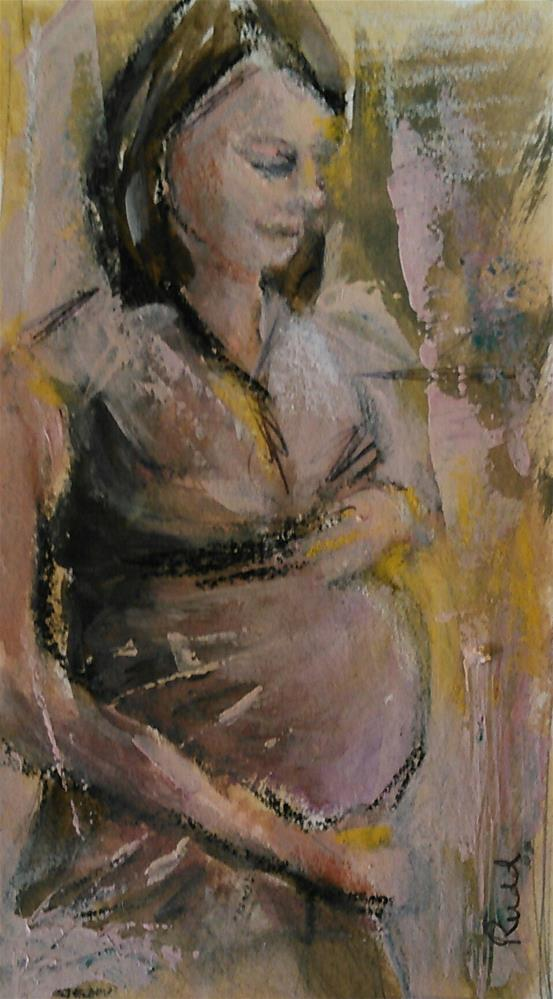 """Expecting in Gold and Mauve"" original fine art by Ann Rudd"