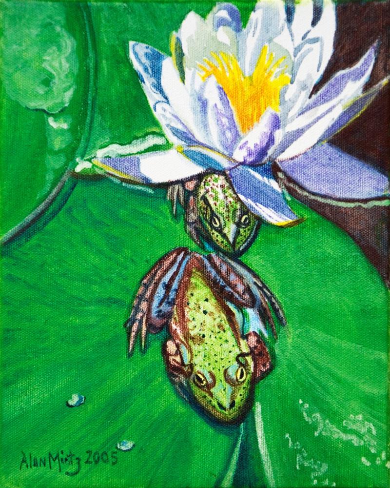 """Frog & Lilly"" original fine art by Alan Mintz"