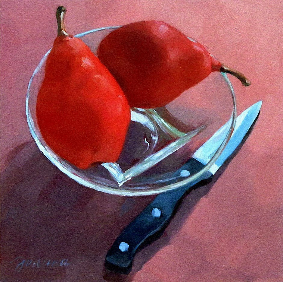 """Still Life with Two Red Pears"" original fine art by Joanna Bingham"