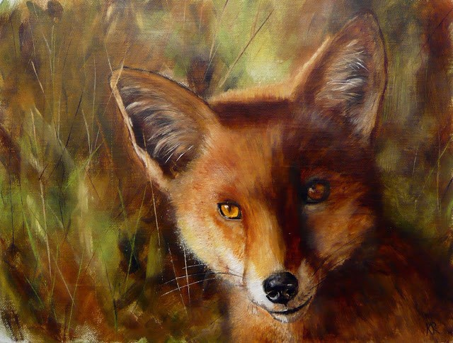 """Fox (this is my 500th daily painting!)"" original fine art by Karen Robinson"