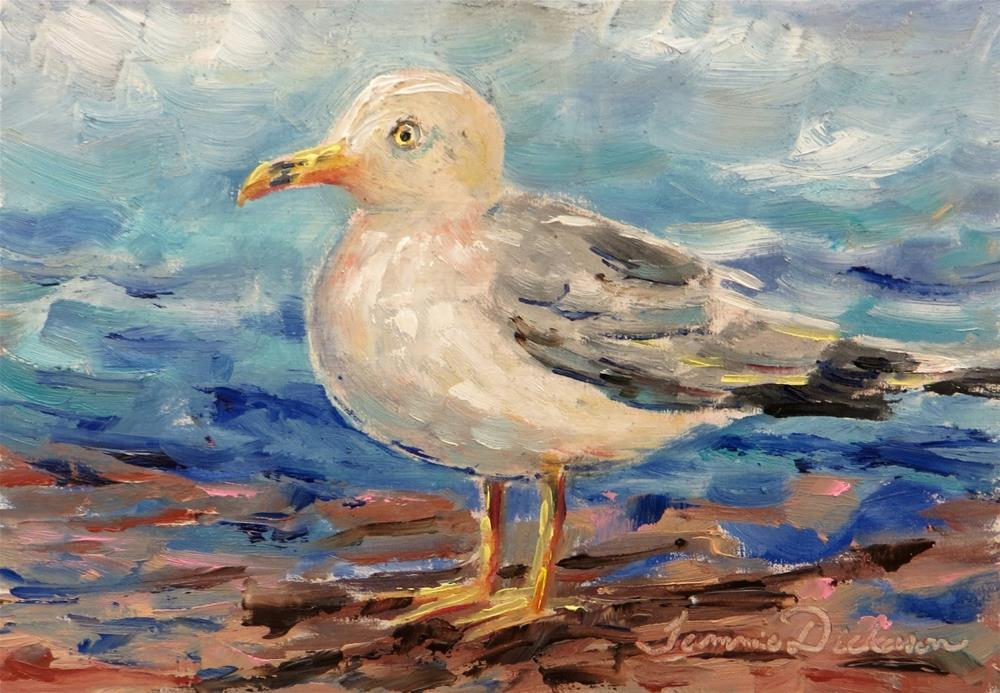 """Seagull on the Beach"" original fine art by Tammie Dickerson"