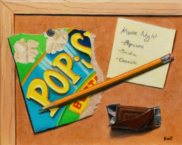 """Movie Night List (Popcorn, Chocolate, Soda)"" original fine art by Kim Testone"