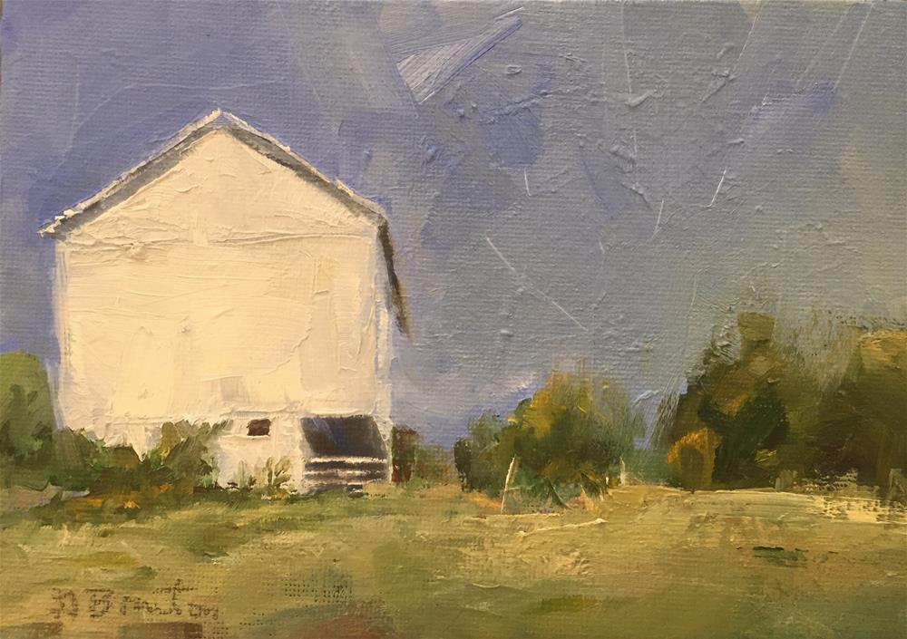 """White Barn"" original fine art by Gary Bruton"