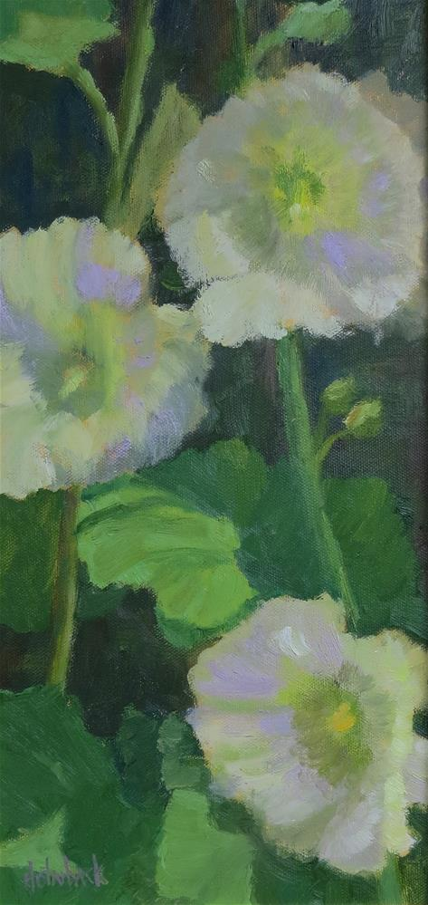 """Backyard Hollyhocks"" original fine art by Pam Holnback"