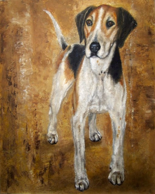 """Study of a Foxhound"" original fine art by Karen Robinson"