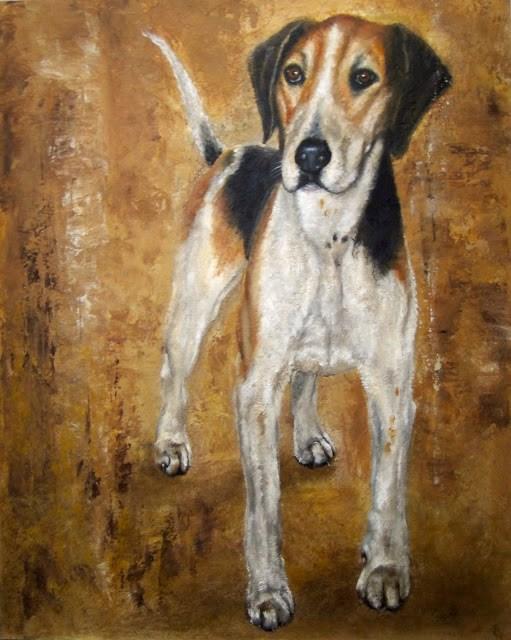 """Study of a Foxhound"" original fine art by Karen Robinson"