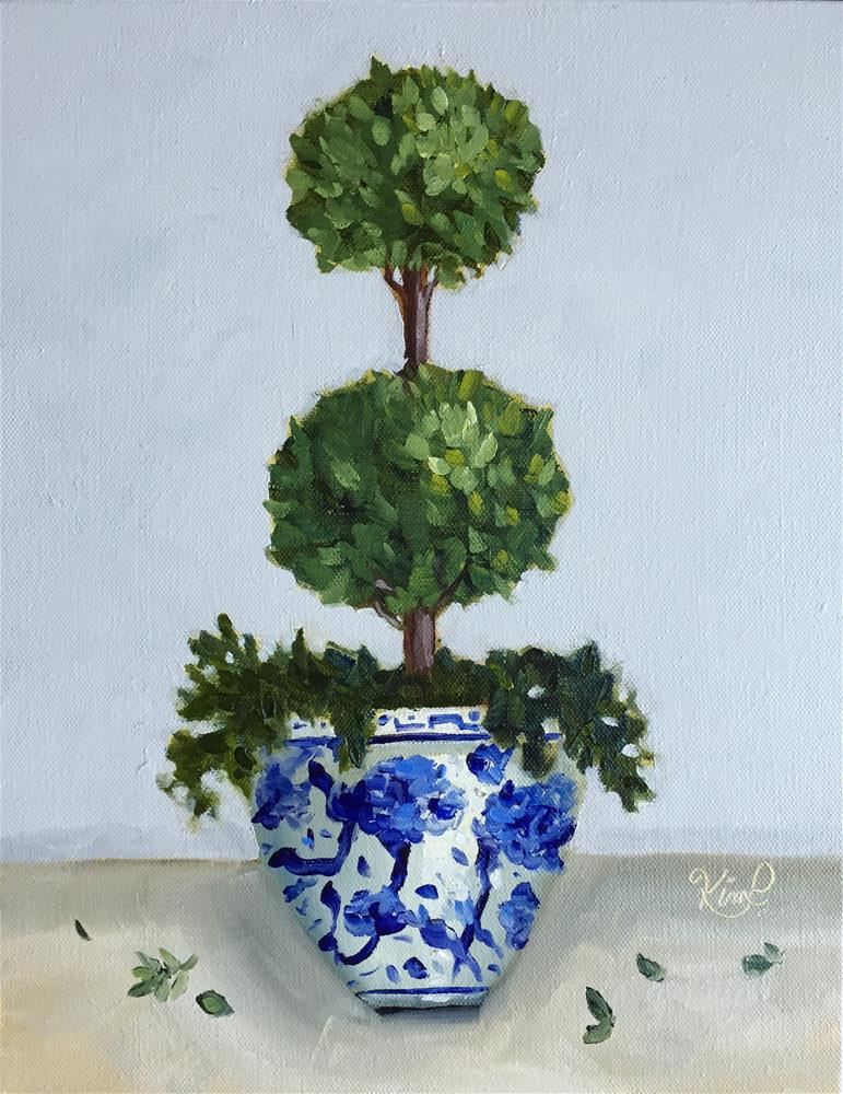 """Topiary II in Blue and White Pot"" original fine art by Kim Peterson"