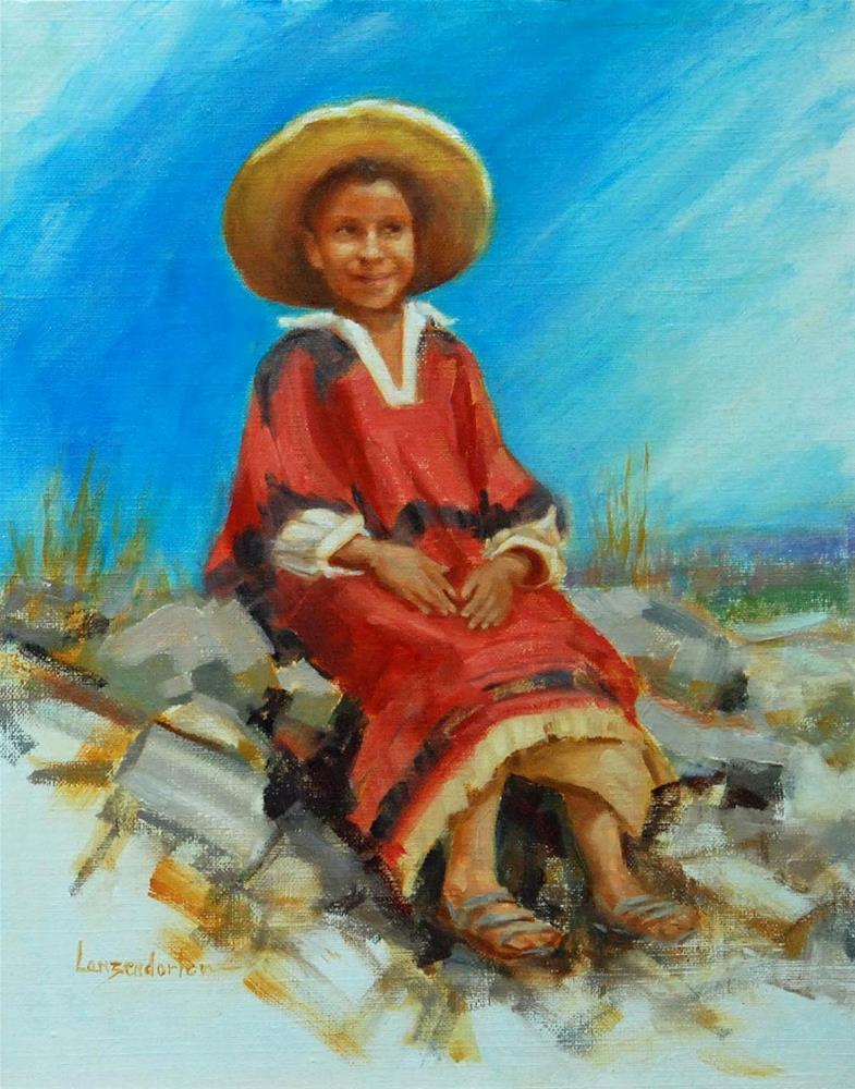 """THE RED PONCHO"" original fine art by Dj Lanzendorfer"
