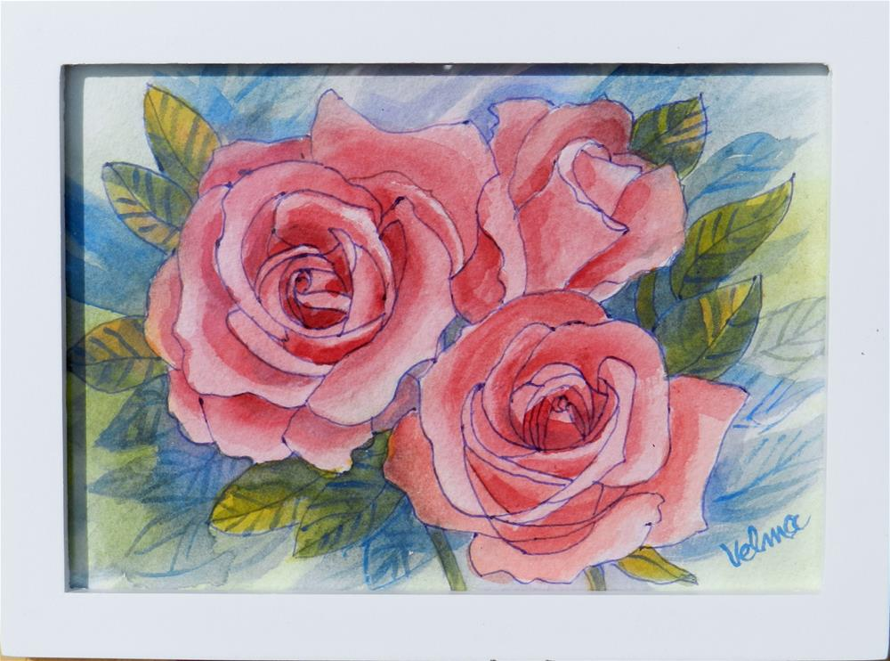"""Three Pink Roses"" original fine art by Velma Davies"