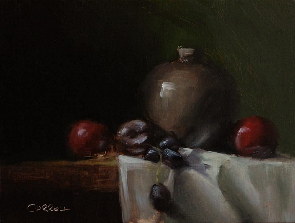 """Vase with Plums"" original fine art by Neil Carroll"