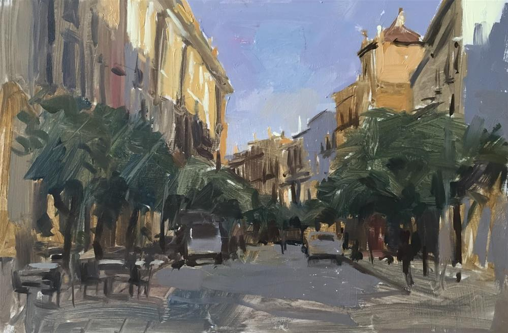"""Evening street study, Seville"" original fine art by Haidee-Jo Summers"