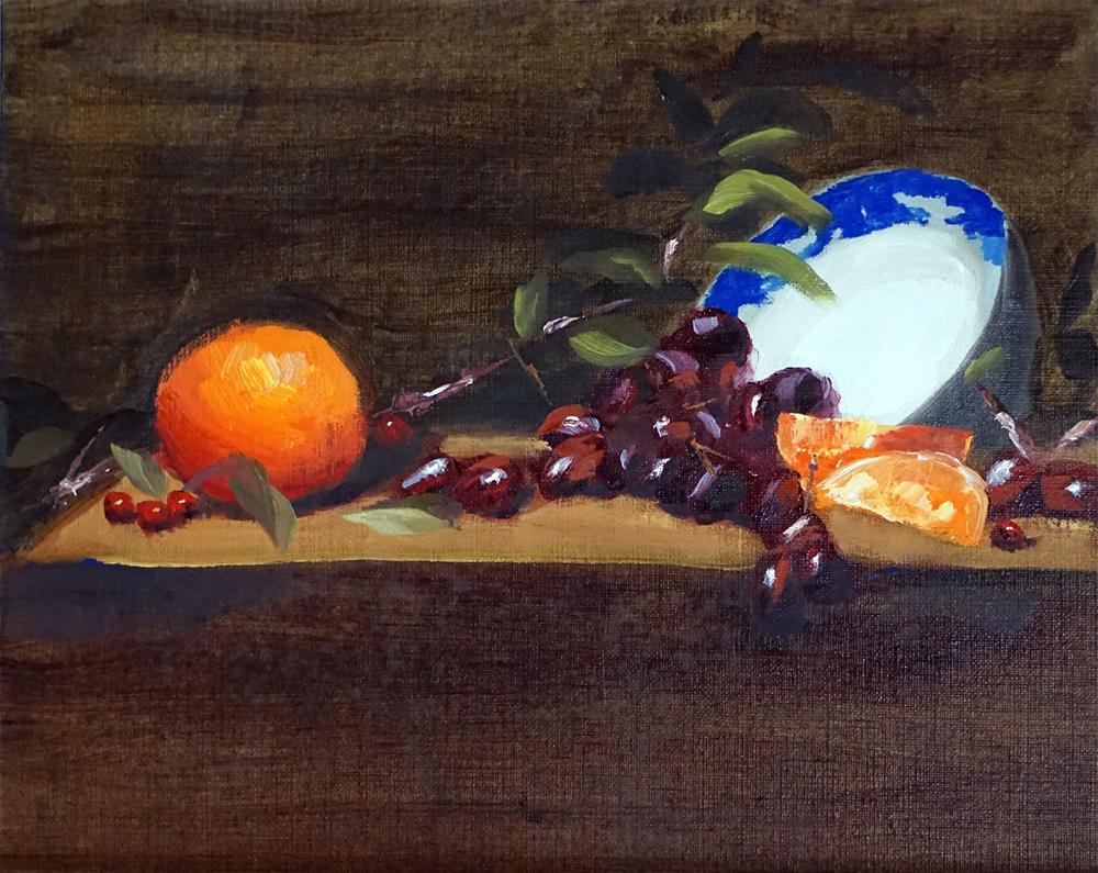 """Still Life with Orange"" original fine art by Catherine Van Berg"